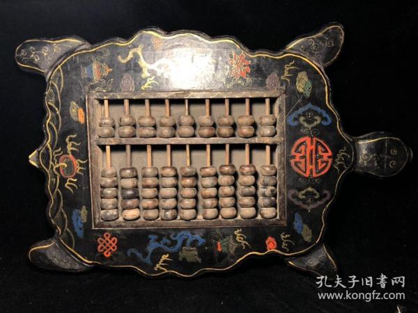 木胎漆器算盤 長壽龜型算盤 代代富貴