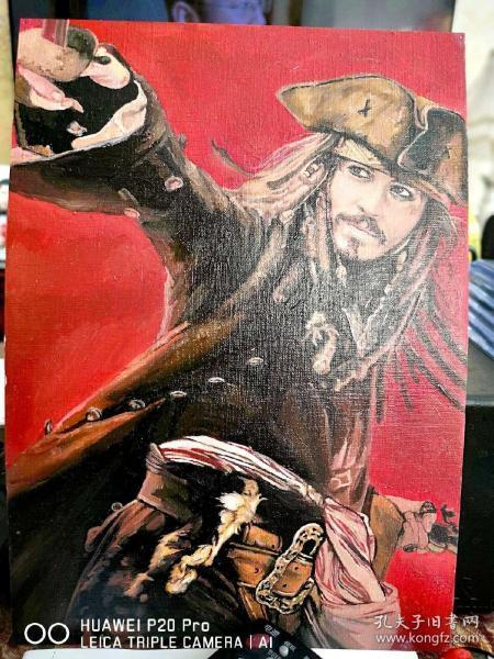 加勒比海盜 杰克船長 約翰尼 德普 手繪 油畫