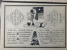 3张80年代黑板报宣传的样式搞 印刷品 部分有手写改动