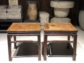 清代 榆木老方凳 鲁作 老高足凳子 明式家具