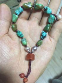 老松石随型手串,配南红,珍珠