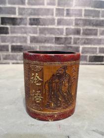 清代高记竹雕描金孔子论语笔筒,纯手工雕刻,全品无裂