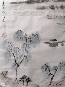 中国著名书法家、画家王学仲,暑名夜泊,69X34。