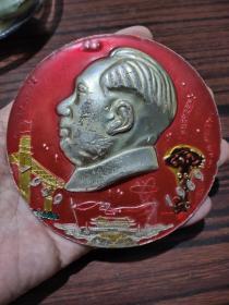 毛林六九年接见重庆无线电厂代表大个纪念像章