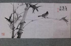 成都著名画家 萧老 国画水墨竹鸟图 原稿手绘真迹