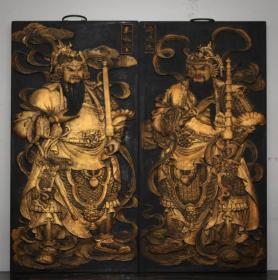 木器木雕大尺寸木胎描金漆器門神掛匾高81厘米