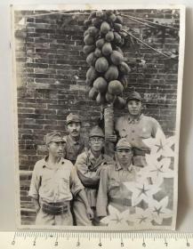 民国抗战时期日本鬼子木瓜树下合影老照片