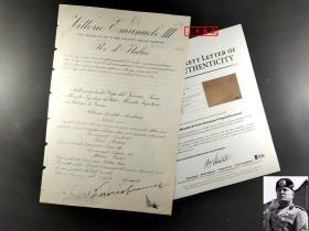 """""""法西斯主义的创始人"""" 墨索里尼 及 意大利末代国王埃马努埃莱三世 双人签名1927年政府文件原件 由三大签名鉴定公司之一Beckett(BAS)鉴定"""