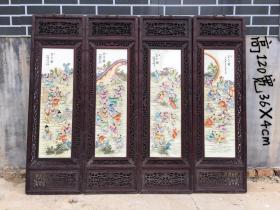 檀木鏤空《百子圖》四扇瓷板掛屏,純手工制作,制作精細完美,人物生動形象,畫工精細,品像完整