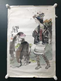 日本回流字画 软片   4344   猴乐图  敬庭尧