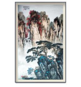 中美协会员赵景岩六尺整张山水精品,有合影