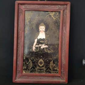 清代时期丁罐鹏手绘珐琅掐丝如来佛唐卡,镶红木瓷板一张,保存完整,做工精美细致造型独特优美,保老保真保到代。