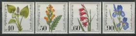 德國郵票 西柏林 1981年 社會福利 瀕危植物 花卉 4全新