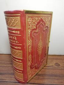1840年   Common Prayer with Psalms and New Testament  凹凸全皮装帧  三面刷金  带锁扣  13 cm x 9 cm