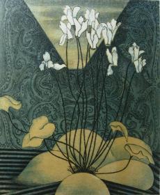 版画家张万里套色木刻版画原作 《兰》画面尺寸32X26CM  出版有《张万里版画集》《画笔之歌》《诗性世界》。