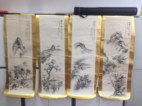 日本南画(中国画)大师—-石川柳城 4条屏 真迹 保真 保手绘 超值 2011年雅昌拍卖有拍卖纪录, 画芯尺寸134*41厘米。