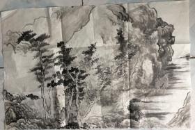 国画 宣纸未裱   水墨山水画  尺寸:68x46厘米  品相意图为准
