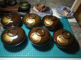 日本木胎涂漆金莳绘盖碗