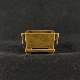 迷你黄铜双耳活底座小香炉复古微雕铜香炉古玩铜器仿古马槽炉器皿
