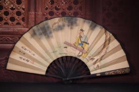 竹雕手绘纸折扇 长33cm   宽3cm   扇面展开62cm,