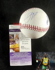 """""""飞人"""" 博尔特 亲笔签名大联盟官方棒球,由三大签名鉴定公司之一JSA鉴定"""