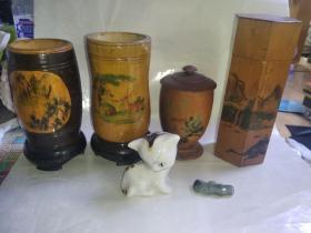 茶叶罐 笔筒 【竹子木头 2】瓷猫 翡翠 6样1起出 品相如图  按图发货 新疆西藏内蒙古青海海南不要拍