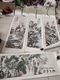 著名画家,刘大奎,春夏秋冬,四条屏山水画,净芯尺寸,28--89厘米