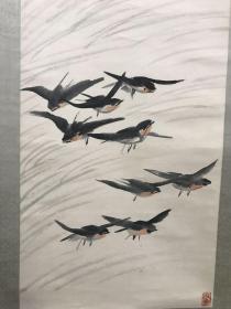 白龙山人王震花鸟挂轴 142x36cm  王一亭(1867~1938)