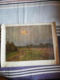 1955年苏联原版油画夏季长68.8宽52厘米