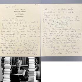 """【珍贵】英国""""侦探推理女王""""阿加莎·克里斯蒂亲笔信一页(正反两面) 尺寸17.2cm×13.8cm 阿加莎私人特制专用信纸 有水印 信纸抬头有""""Greenway House""""(阿加莎故居夏日庄园) 保真!写满内容非常难得 信中有提到""""波洛""""【国内现货顺丰包邮】Agatha Christie 信札 签名 阿婆 《东方快车谋杀案》《尼罗河谋杀案》柯南·道尔"""