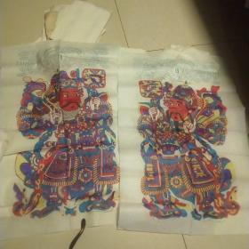 楊家埠木版年畫一 原版手工印.袋裝,大號門神一對,年畫研究所