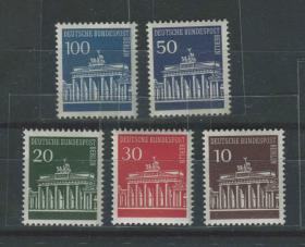 德國郵票 西柏林 1966-70-勃蘭登堡門 5全新