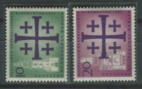 德國郵票 西柏林 1961年 德國天主教福音會全國大會 2全新