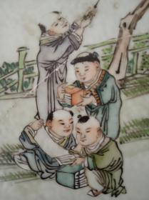 民国 浅绛彩画瓷名家 仙槎 钱安 徽州黟县人 五子折桂 登科图 直径25cm 5品