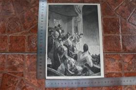 【現貨 包郵】1890年小幅木刻版畫《在柏林的萊辛劇院》( immer fidel)尺寸如圖所示(貨號400708)