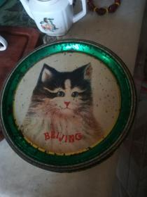 漂亮60年代北京餅干盒,小貓線團圖案,19.5*19.5*8.5cm