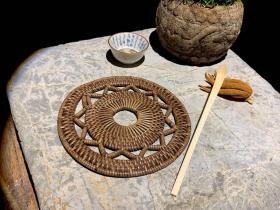 清代藤編老鐵壺墊