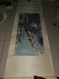 同济大学教授,著名画家,江理平,画作业一幅,净心尺寸,44--96厘米,同济大学赠北京一大学