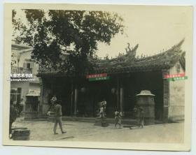 民国福建厦门寺院祠堂建筑正门老照片,10.4X8.1厘米,泛银