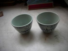 早期青花瓷-人物图案茶杯一对!高6.2厘米,口径7.5厘米