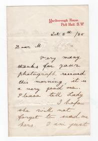 温莎王朝的开创者 伊丽莎白二世的祖父 乔治五世 King George V 1885年20岁早期稀有亲笔信
