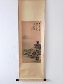 吴逸敏 李白送孟浩然之广陵  手绘保证 日本回流字画 中国画 日本直邮