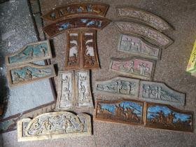 早期民俗老物件人物戏曲人物三国故事情节老木雕花板,手工雕刻,保存完好,难得。总共17块通走包邮,偏远地区除外