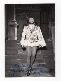 帕瓦罗蒂(Luciano Pavarotti)1968年早期《弄臣》演出造型签名照 精品
