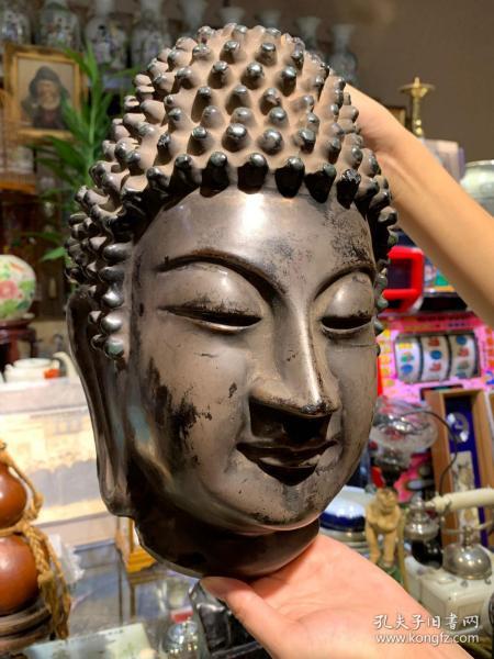 日本古董,中國清代,寺院藏品,木雕大漆批麻掛灰工藝,大日如來佛頭掛件