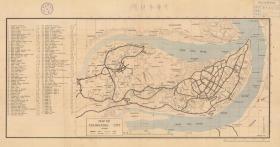 (民国1943年)《重庆老地图》( 原图高清复制)民国重庆市老地图。全图英文标注,图中各机关单位标注序号,左侧附地名表,请看各个大使馆及机关。图名 Map of CHUNGKING  是邮政拼音。重庆市地理地名历史变迁重要史料。裱框后,风貌佳。