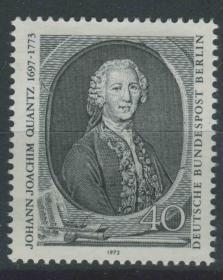德國郵票 西柏林 1973年 德國長笛演奏家作曲家夸萬茲誕生200周年 雕刻版 1全新