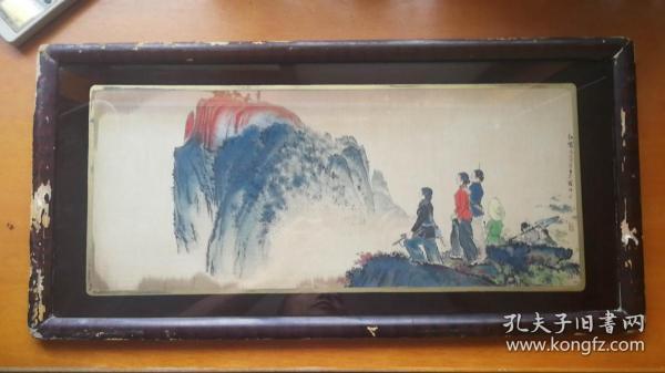 六十年代 原框: 杭州東方紅絲織廠絲織畫《紅霞》(尺寸60*30CM帶框)