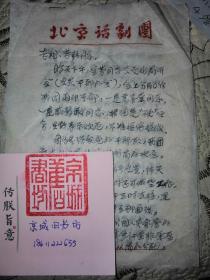 北京人艺:信札一通三页。1972年。信中谈;戚慧敏的工作。  吕恩 财物查抄,曹禺1969年上缴---