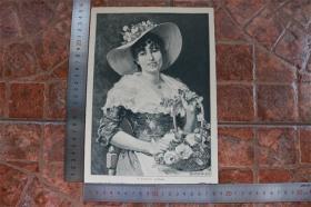 【現貨 包郵】1890年小幅木刻版畫《花店》(la fioraia)尺寸如圖所示(貨號400706)注:正反面均全圖